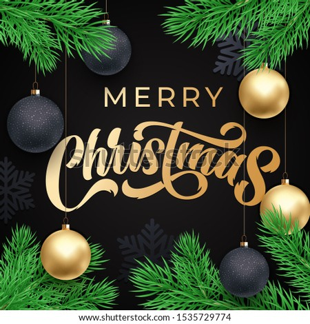 Merry Christmas greeting card calligrpahy on gold glittering snowflakes pattern, vector winter holidays design. Xmas greeting text and Christmas golden snow decoration on white background
