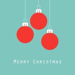 Merry Christmas greeting card, Christmas balls, vector illustration