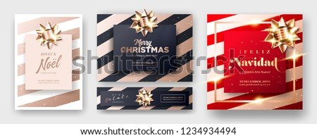 Merry Christmas 2019 Greeting Card Cover in English, French, Italian, Spanish. Set of Minimalist Xmas Poster Templates in Dark Black, Red and Rose Gold Colors. Strict, Luxury, Elegant, Modern Style.