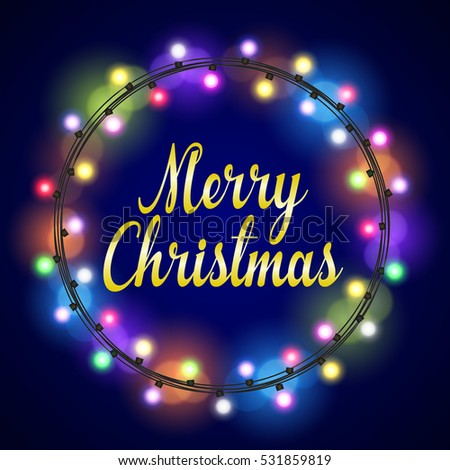 Merry Christmas greeting card design with colorful Glowing lights decorated circular frame. vector illustration.
