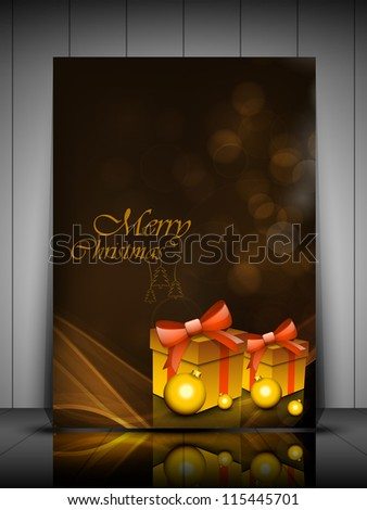 Merry Christmas greeting card, gift card and invitation card with gift boxes and Xmas balls on wave background. EPS 10.