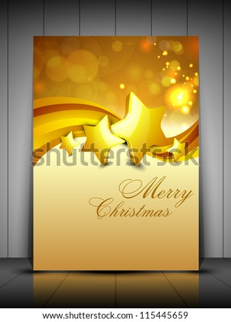 Merry Christmas greeting card, gift card and invitation card with Xmas stars on snowflakes wave background. EPS 10. - stock vector