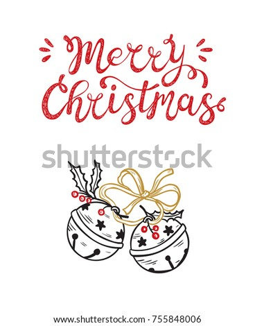 Stock Photo Merry Christmas greeting card. Happy Holidays. Vector winter holiday background with hand lettering calligraphic and Christmas Bells. Jingle Bells with Ribbon and Holly Berries