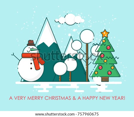 Stock Photo Merry Christmas greeting card.  Happy New year wishes. Poster in flat line modern style.