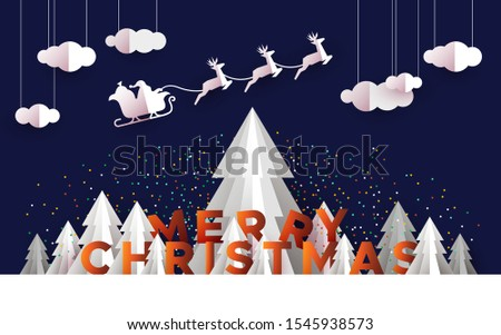 Merry Christmas greeting card illustration of papercut holiday forest landscape with pine trees and santa claus reindeer in sled.