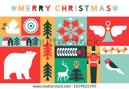 Merry Christmas greeting card illustration of xmas season mosaic in colorful geometric folk style. Retro celebration icons includes polar bear, peace dove, pine tree, children toy and reindeer.