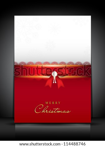 Merry Christmas greeting card or gift card decorated with red ribbon. EPS 10.
