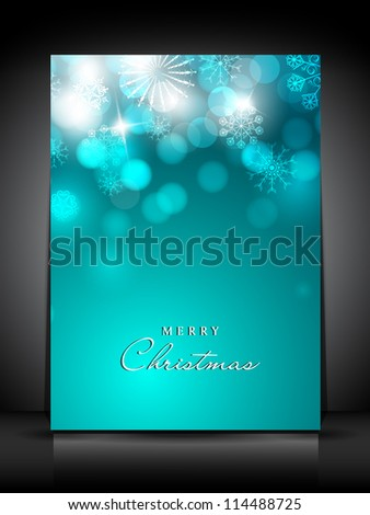 Merry Christmas greeting card or gift card decorated with snowflakes. EPS 10.