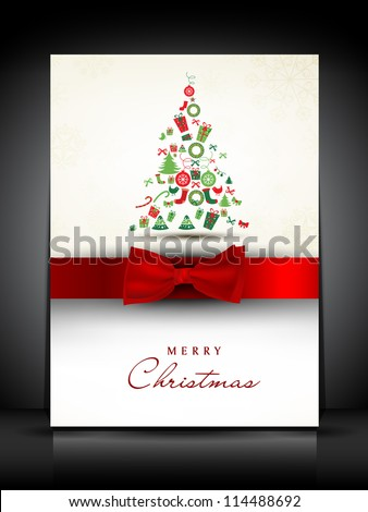 Merry Christmas greeting card or gift card decorated with Xmas tree and red ribbon. EPS 10.