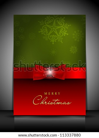 Merry Christmas greeting card or gift card with decorative red ribbon and snowflakes design. EPS 10.