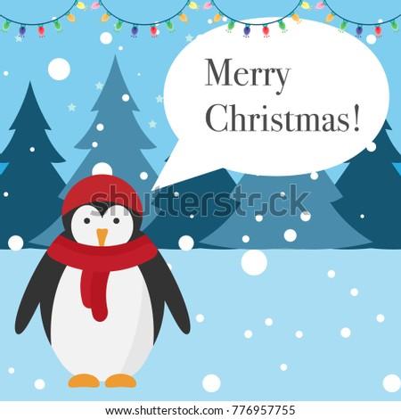Merry christmas greeting card penguin talks word bubble greeting merry christmas greeting card penguin talks word bubble greeting card winter landscape m4hsunfo