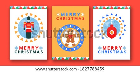 Merry Christmas greeting card set. Modern scandinavian art illustration collection with abstract geometric shapes in watercolor texture. Includes toy soldier, gingerbread man and bauble ornament.