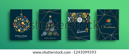 Merry Christmas greeting card set with new year text quote and gold luxury decoration. Includes deer, xmas ornament, holly leaf.