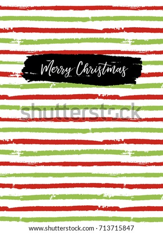 Merry Christmas greeting card, sketchbook cover. Vector brush lines, christmas traditional colors