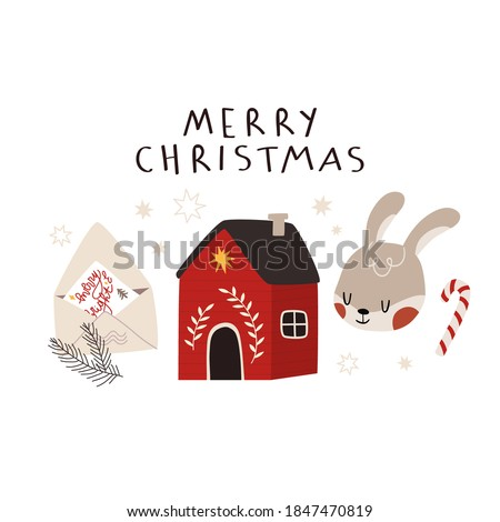 Merry Christmas greeting card tempale with winter cottage, bunny and envelope for Santa. Winter holidays card or poster. Vector winter set