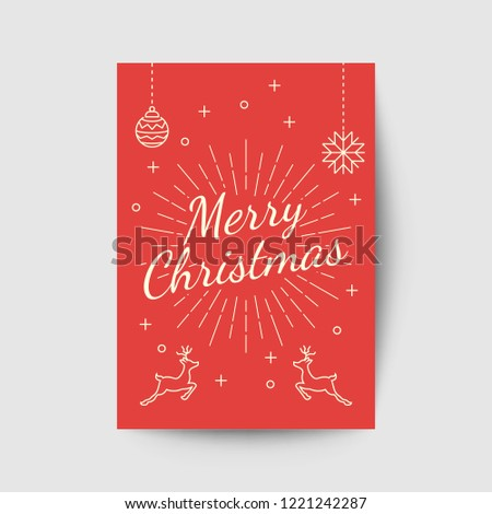 merry christmas greeting card template, vector design