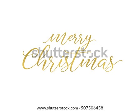 Merry Christmas greeting card. Typographic vector design, gold foil effect lettering.