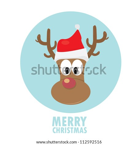 merry christmas greeting card. vector abstract xmas background. vector deer rudolf.