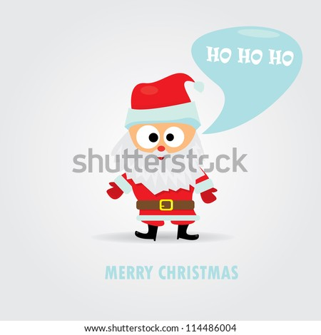 merry christmas greeting card. vector abstract xmas background. Vector Santa Claus with speech bubble for text.