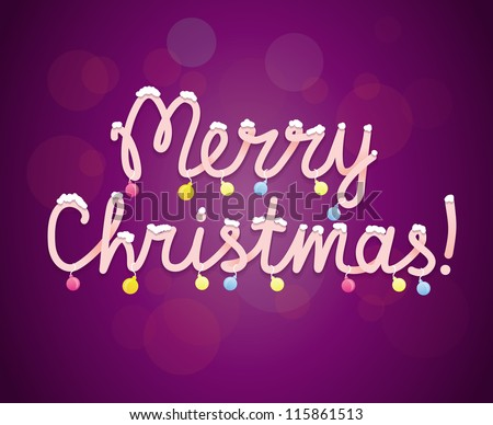 Merry christmas greeting card - vector background with lettering
