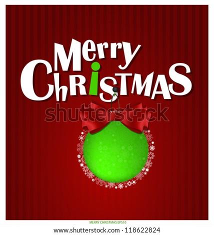 Merry Christmas greeting card, vector illustration.