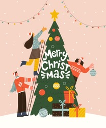 Merry Christmas greeting card. Vector illustration in trendy flat style of three people decorating Christmas tree