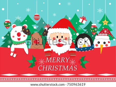 Stock Photo Merry Christmas greeting card vector. Santa Clause and friend (reindeer,penguin,bear and snowman )