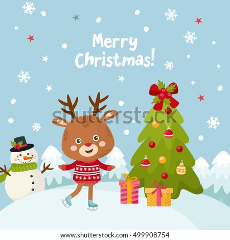 Merry christmas greeting card with a cute little deer happy new merry christmas greeting card with a cute little deer happy new year holidays cartoon m4hsunfo
