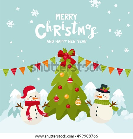 Merry Christmas greeting card with a cute snowman. Happy New Year holidays! Christmas tree with red and yellow ball on a winter landscape. Illustration for kids, Xmas holidays.