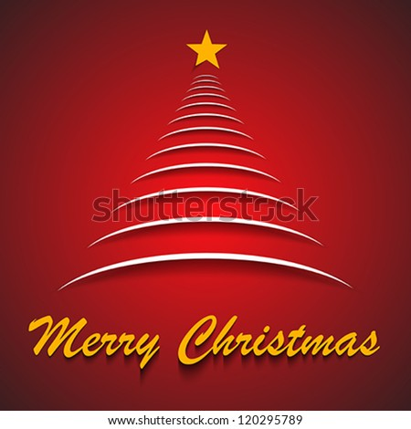 Merry Christmas greeting card with abstract Christmas tree. Vector illustration