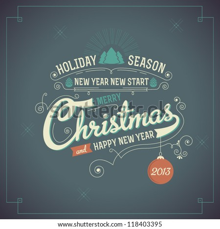 Merry Christmas Greeting Card with calligraphy elements. Vintage Background - stock vector