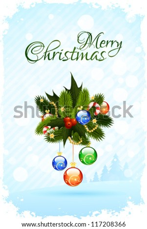 Merry Christmas Greeting Card with Christmas Trees and Decorations