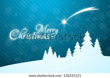 Merry Christmas Greeting Card with Christmas Trees and falling Star