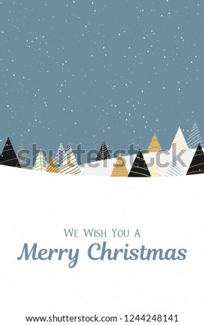 Merry Christmas greeting card with creative color fir trees and snow. Vector background.