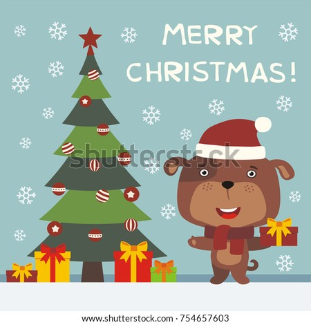 merry christmas greeting card with funny puppy dog with gifts - Funny Merry Christmas Greetings