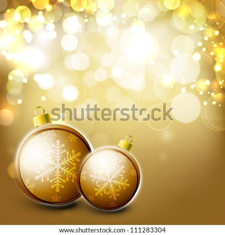 Merry Christmas greeting card with golden Christmas ball. EPS 10.