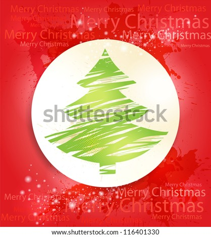 Merry Christmas greeting card with green tree and text .Vector design