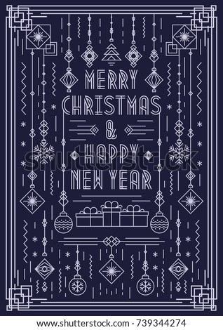 Merry Christmas greeting card with new year toy art deco line style white color on cyan background for party, poster, invitation. Vector Illustration