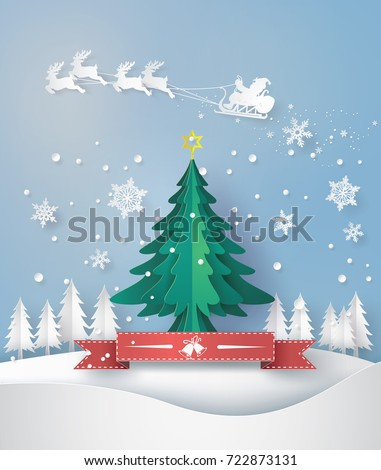 merry christmas greeting card with origami made christmas tree and snow flake. paper art and craft style