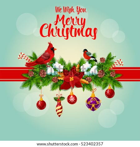 stock-vector-merry-christmas-greeting-card-with-red-cardinal-birds-ribbon-and-decorated-with-christmas-holly