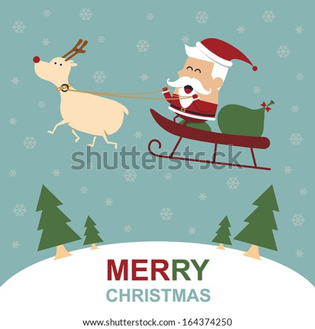 Merry Christmas Greeting Card with Santa Claus and Reindeer