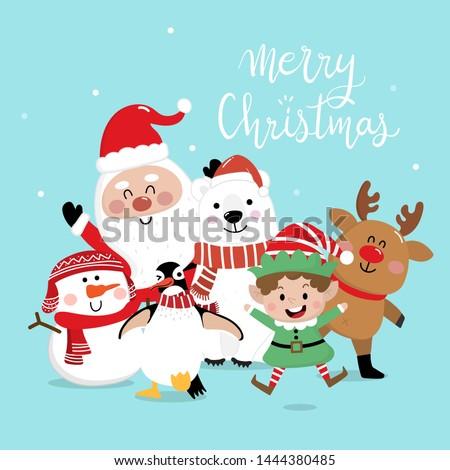 Merry Christmas greeting card with Santa Claus, deer, snowman, penguin, polar bear and little elf. Cute holiday cartoon character vector. Happy new year.
