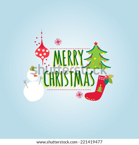stock-vector-merry-christmas-greeting-card-with-snowman-christmas-tree-decoration