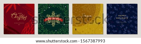 Merry Christmas greeting cards. Trendy abstract square Winter Holidays art templates. Suitable for social media post, mobile apps, banner design and web/internet ads. Vector fashion background.