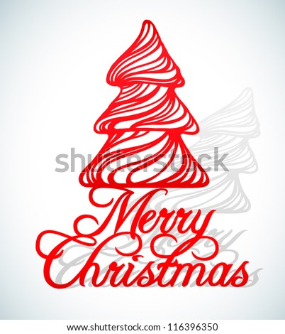 merry christmas greeting cut from paper isolated