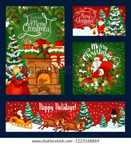 Merry Christmas greeting template on red and green snow background. Vector Xmas pine tree, balls and bell, snowman and gift stockings on fireplace chimney, Santa sleigh and holiday wreath