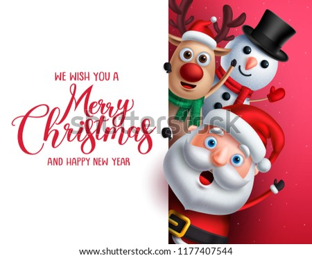 Merry christmas greeting template with santa claus, snowman and reindeer vector characters singing while holding empty white space for christmas wish list in red background.