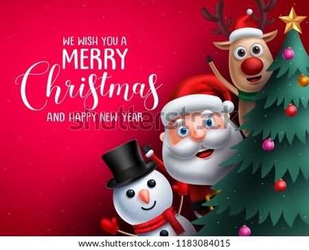 Merry christmas greeting text and christmas characters like santa claus, reindeer and snowman waiving hand in a christmas tree in red background. Vector illustration.