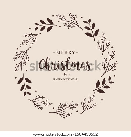 Merry Christmas greeting text branch wreath circle background  Сток-фото ©