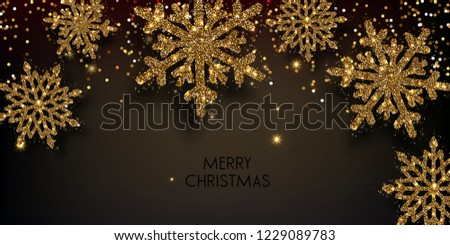 Merry Christmas  greeting vector illustration with golden  glitters, sparkles and snowflakes #1229089783
